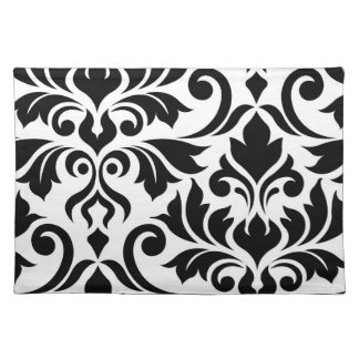 Flourish Damask Art I Black on White Placemat