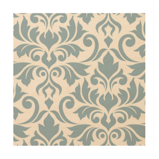 Flourish Damask Art I Blue on Cream