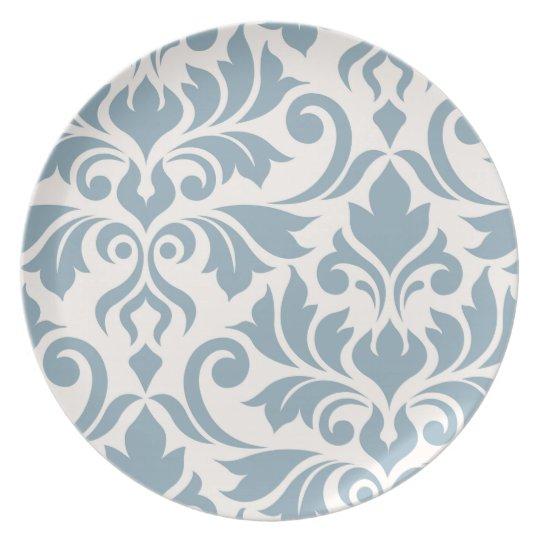 Flourish Damask Art I Blue on Cream Plate