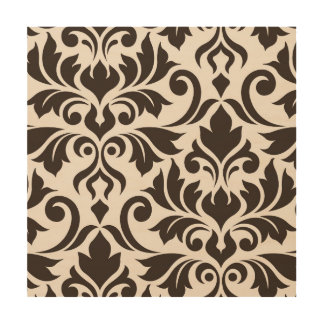 Flourish Damask Art I Brown on Cream