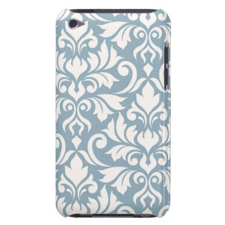 Flourish Damask Art I Cream on Blue Barely There iPod Covers