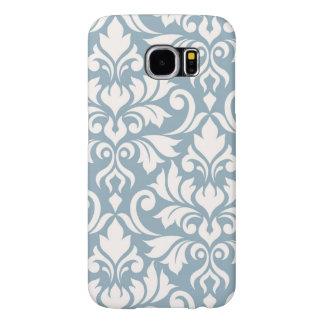 Flourish Damask Art I Cream on Blue Samsung Galaxy S6 Cases