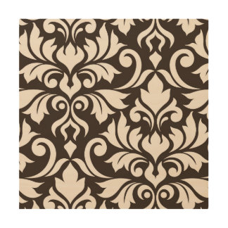 Flourish Damask Art I Cream on Brown