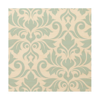 Flourish Damask Art I Duck Egg Blue on White