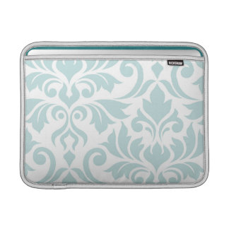 Flourish Damask Art I Duck Egg Blue on White MacBook Sleeve