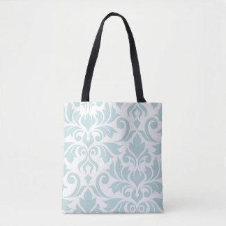 Flourish Damask Art I Duck Egg Blue on White Tote Bag