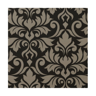 Flourish Damask Art I Gray on Black