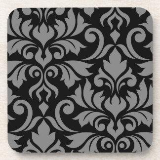 Flourish Damask Art I Gray on Black Coaster