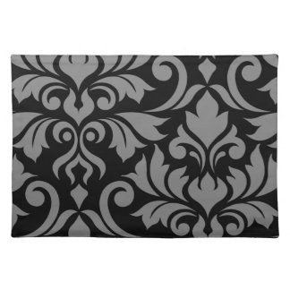 Flourish Damask Art I Gray on Black Placemat