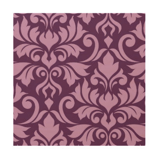 Flourish Damask Art I Pink on Plum