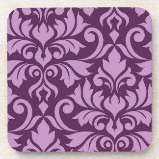 Flourish Damask Art I Pink on Plum Coaster