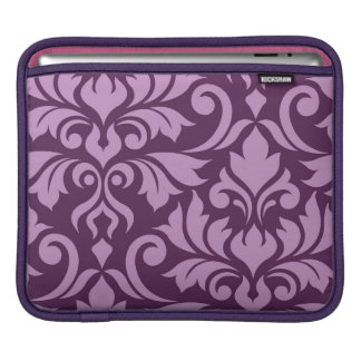 Flourish Damask Art I Pink on Plum iPad Sleeve