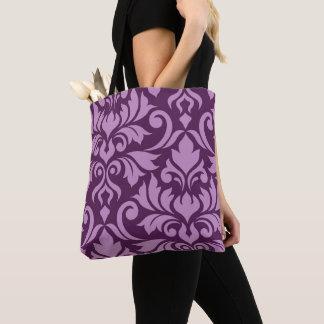 Flourish Damask Art I Pink on Plum Tote Bag