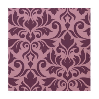 Flourish Damask Art I Plum on Pink