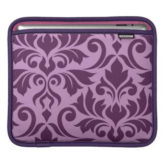 Flourish Damask Art I Plum on Pink iPad Sleeve
