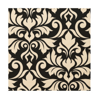 Flourish Damask Art I White on Black