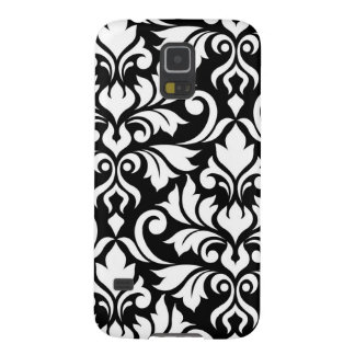 Flourish Damask Art I White on Black Galaxy S5 Cases