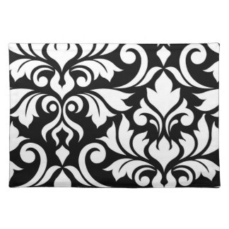 Flourish Damask Art I White on Black Placemat