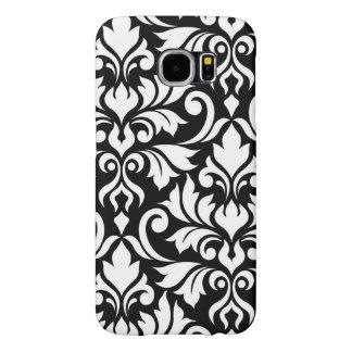 Flourish Damask Art I White on Black Samsung Galaxy S6 Cases