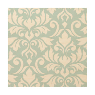 Flourish Damask Art I White on Duck Egg Blue