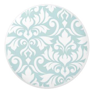 Flourish Damask Art I White on Duck Egg Blue Ceramic Knob