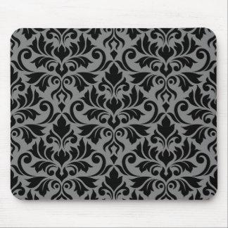 Flourish Damask Big Pattern Black on Gray Mouse Pad