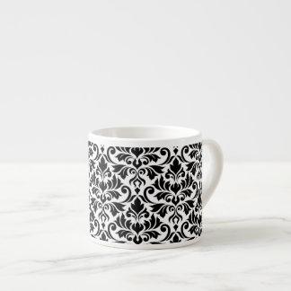 Flourish Damask Big Pattern Black on White Espresso Cup