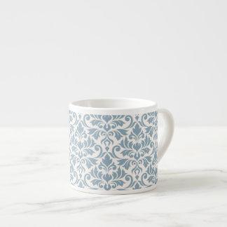 Flourish Damask Big Pattern Blue on Cream Espresso Cup