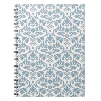 Flourish Damask Big Pattern Blue on Cream Notebook