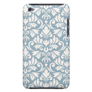 Flourish Damask Big Pattern Cream on Blue Barely There iPod Covers