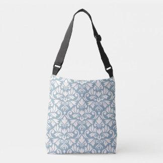Flourish Damask Big Pattern Cream on Blue Crossbody Bag