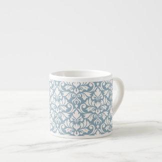 Flourish Damask Big Pattern Cream on Blue Espresso Cup