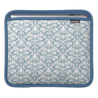 Flourish Damask Big Pattern Cream on Blue iPad Sleeve