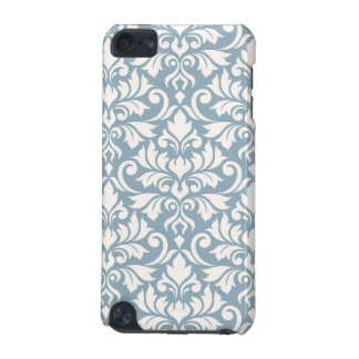 Flourish Damask Big Pattern Cream on Blue iPod Touch (5th Generation) Cover