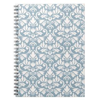 Flourish Damask Big Pattern Cream on Blue Notebook