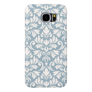 Flourish Damask Big Pattern Cream on Blue Samsung Galaxy S6 Cases