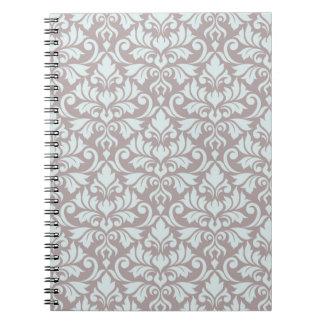 Flourish Damask Big Pattern Duck Egg Blue on Taupe Notebook