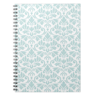 Flourish Damask Big Pattern Duck Egg Blue on White Spiral Notebook