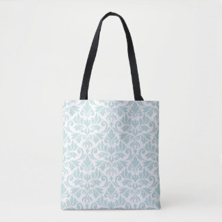 Flourish Damask Big Pattern Duck Egg Blue on White Tote Bag