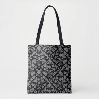 Flourish Damask Big Pattern Gray on Black Tote Bag
