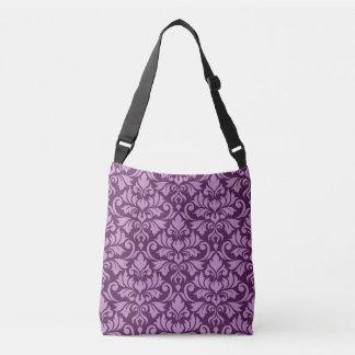 Flourish Damask Big Pattern Pink on Plum Crossbody Bag
