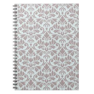 Flourish Damask Big Pattern Taupe on Duck Egg Blue Notebook