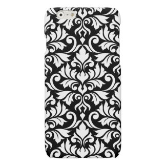 Flourish Damask Big Pattern White on Black