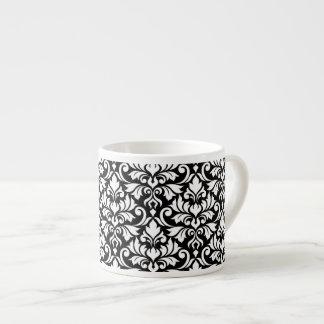 Flourish Damask Big Pattern White on Black Espresso Cup