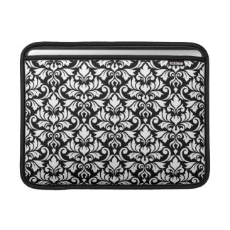 Flourish Damask Big Pattern White on Black MacBook Sleeve