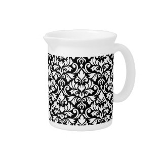 Flourish Damask Big Pattern White on Black Pitcher
