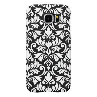Flourish Damask Big Pattern White on Black Samsung Galaxy S6 Cases