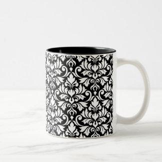 Flourish Damask Big Pattern White on Black Two-Tone Coffee Mug