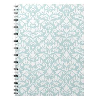 Flourish Damask Big Pattern White on Duck Egg Blue Spiral Notebook