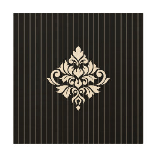 Flourish Damask Design White on Gray Stripes & Blk Wood Wall Art
